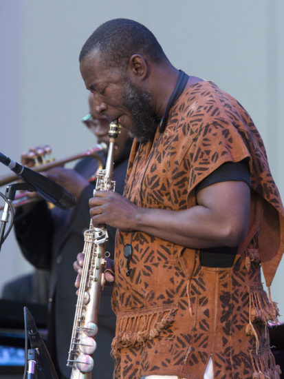 Antoine Roney performs with the Miles Electric Band at the 2018 Playboy Jazz Fest