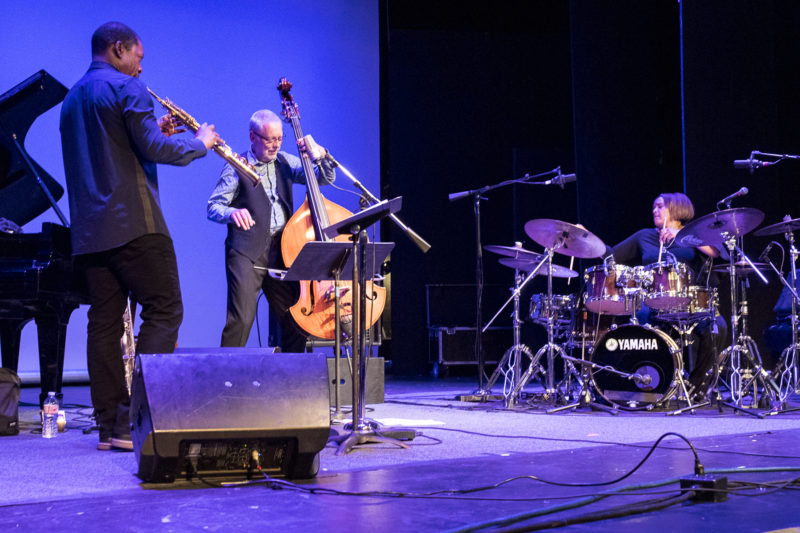 "L to R: Ravi Coltrane, Dave Holland, and Terri Lyne Carrington during the ""Celebrating Geri Allen"" concert at the 2018 Healdsburg Jazz Festival (photo: George B. Wells)"