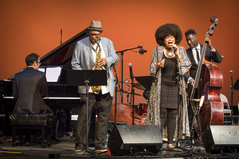 Singer Ruth Naomi Floyd performs with Adam Schulman (L), Bobby Watson, and Marcus Shelby at the 2018 Healdsburg Jazz Festival (photo: George B. Wells)