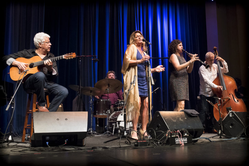 Trio da Paz perform with singer Claudia Villela and clarinetist Anat Cohen at the 2018 Healdsburg Jazz Festival (photo: George B. Wells)