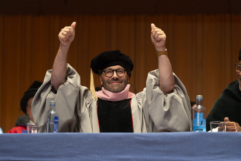 Al Di Meola at the Berklee College of Music's 2018 graduate commencement in Valencia, Spain