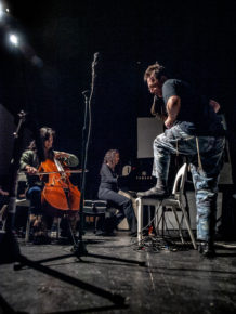 Saxophonist John Zorn, pianist Sylvie Courvoisier and cellist Ha-Yang Kim collaborate on on of Zorn's Improv Nights at the Stone in February 2008