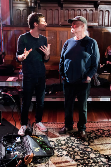 Michael League in the studio with singer-songwriter David Crosby in New Orleans, February 15 (photo by Stella K)