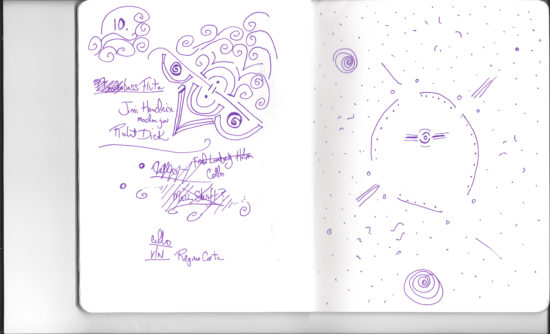 Doodles by Nicole Mitchell while she listened to music during the Before & After session
