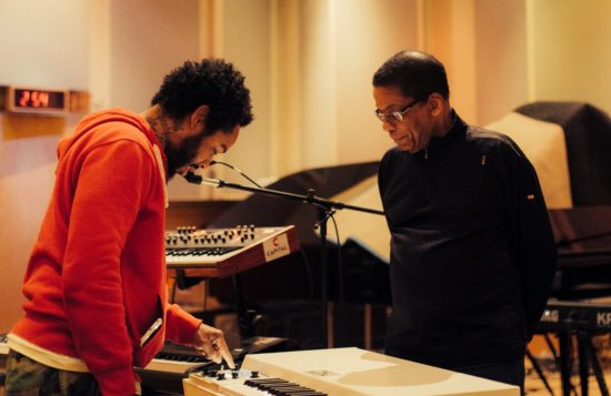 Terrace Martin in the studio with Herbie Hancock (photo by Samantha J)