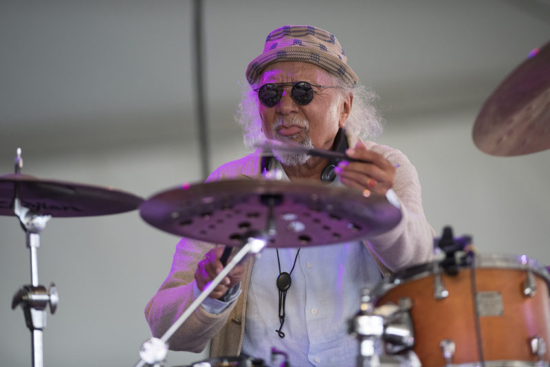 Charles Lloyd on drums at the 2018 Newport Jazz Festival
