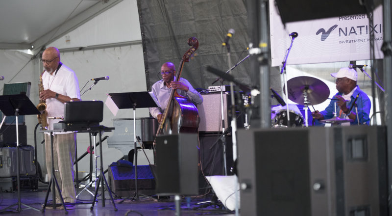 Trio 3—L to R: Oliver Lake, Reggie Workman, and Andrew Cyrille—at the 2018 Newport Jazz Festival (photo: Marek Lazarski)