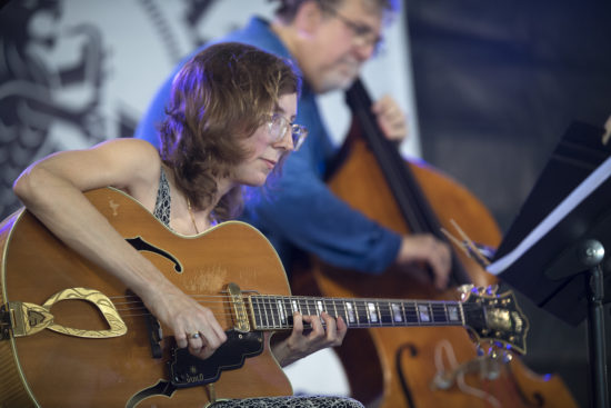 Mary Halvorson and Michael Formanek at the 2018 Newport Jazz Festival