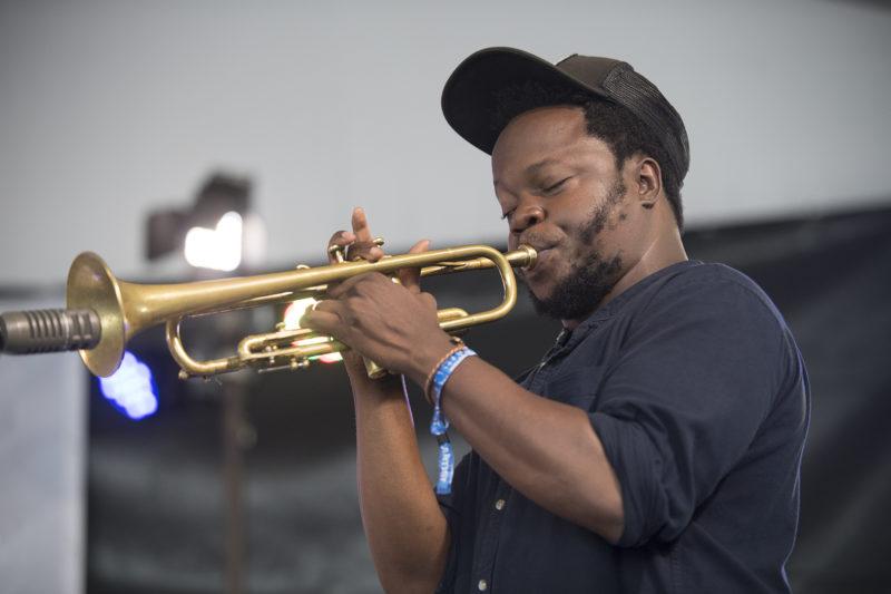 Ambrose Akinmusire at the 2018 Newport Jazz Festival (photo: Marek Lazarski)
