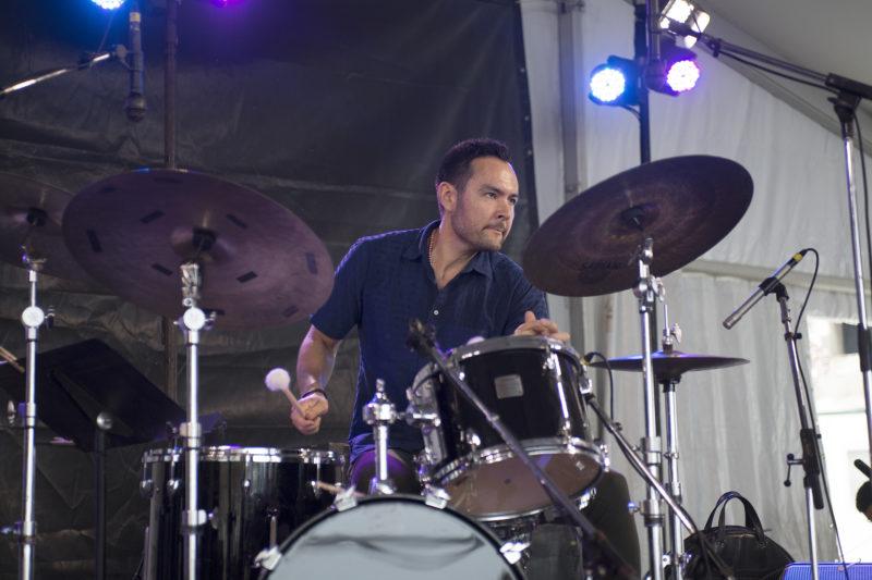 Tomas Fujiwara at the 2018 Newport Jazz Festival (photo: Marek Lazarski)