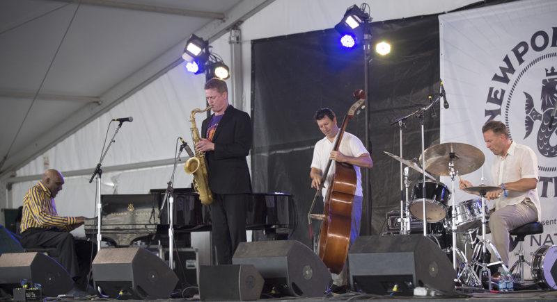 L to R: Harold Mabern, Eric Alexander, John Webber, and Joe Farnsworth at the 2018 Newport Jazz Festival (photo: Marek Lazarski)