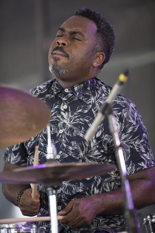 Nate Smith at the 2018 Newport Jazz Festival (photo: Marek Lazarski)