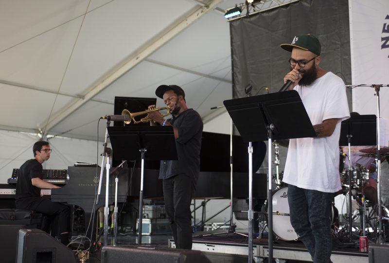 L to R: Sam Harris, Ambrose Akinmusire, and Kool A.D. at the 2018 Newport Jazz Festival (photo: Marek Lazarski)