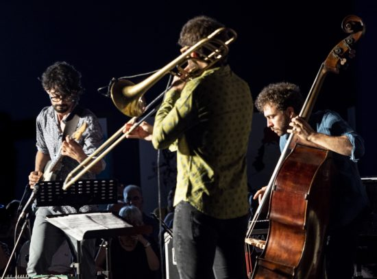Francesco Deodati, Filippo Vignato, and Francesco Ponticelli at the 45th Umbria Jazz Festival