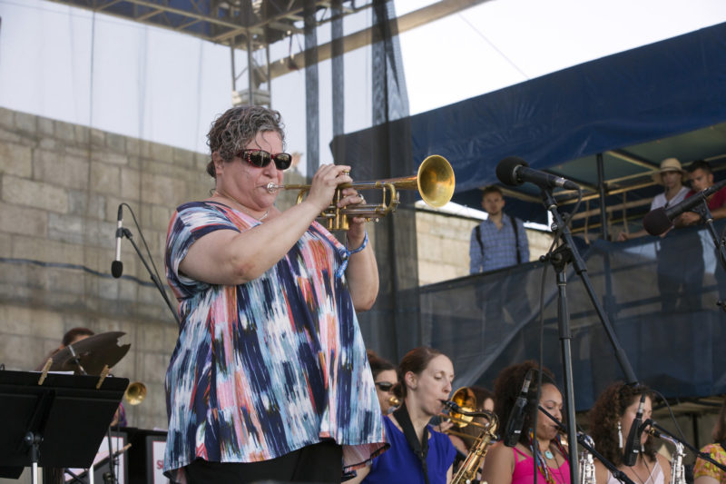 Jamie Dauber at the 2018 Newport Jazz Festiva