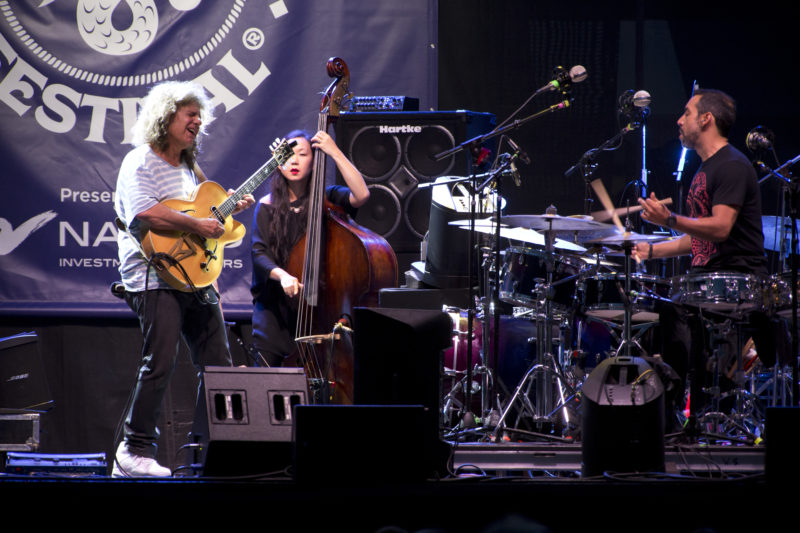 Pat Metheny, Linda Oh, and Antonio Sanchez at the 2018 Newport Jazz Festival
