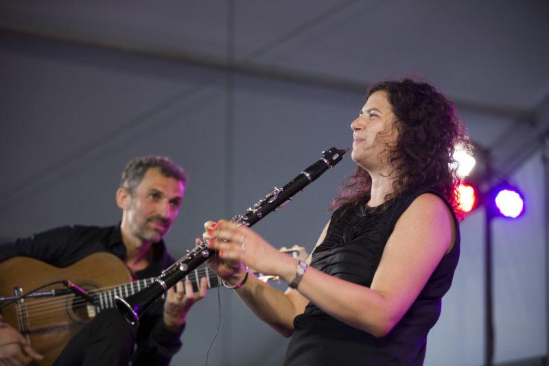 Marcello Gonçalves and Anat Cohen at the 2018 Newport Jazz Festival (photo: Alan Nahigian)