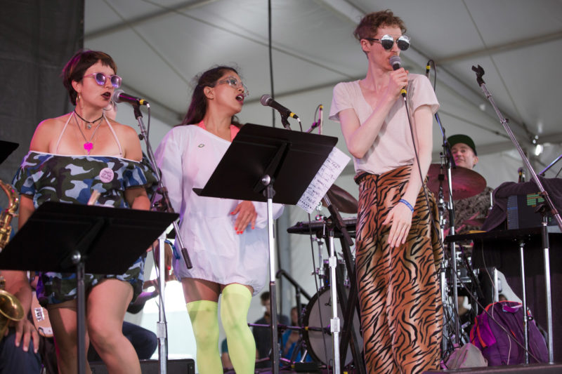 Louis Cole (far right) performs with his Big Band Blowout at the 2018 Newport Jazz Festival (photo: Alan Nahigian)
