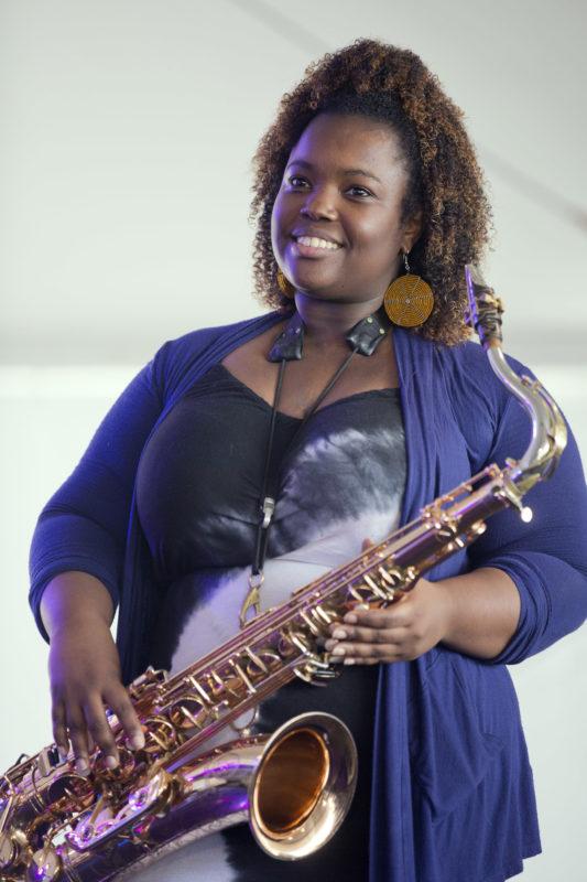Camille Thurman at the 2018 Newport Jazz Festival (photo: Alan Nahigian)