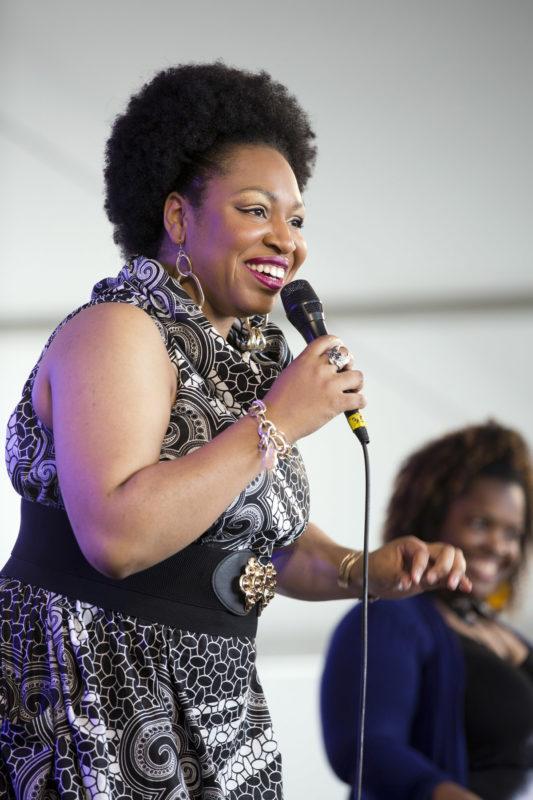 Charenée Wade at the 2018 Newport Jazz Festival (photo: Alan Nahigian)