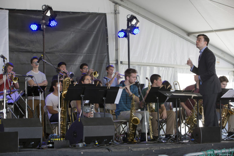 Darcy James Argue conducts the Massachusetts Music Educators Association (MMEA) All-State Jazz Band at the 2018 Newport Jazz Festival (photo: Alan Nahigian)