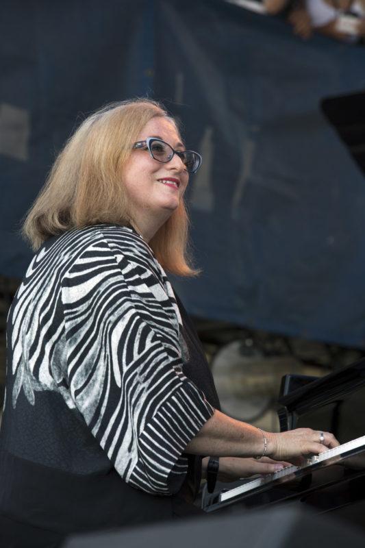 Renee Rosnes performs with Artemis at the 2018 Newport Jazz Festival (photo: Alan Nahigian)