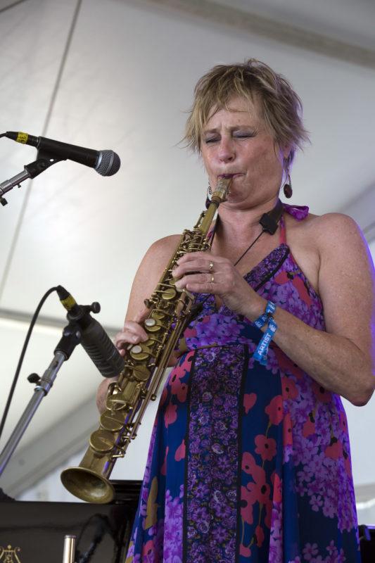 Jane Bunnett at the 2018 Newport Jazz Festival (photo: Alan Nahigian)