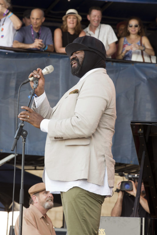 L to R: Chip Crawford and Gregory Porter at the 2018 Newport Jazz Festival (photo: Alan Nahigian)
