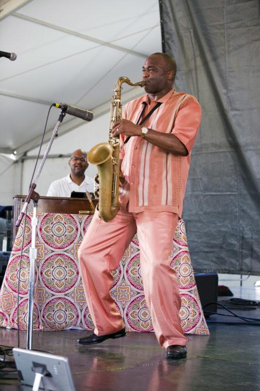 L to R: Gerald Gibbs and James Carter at the 2018 Newport Jazz Festival (photo: Alan Nahigian)