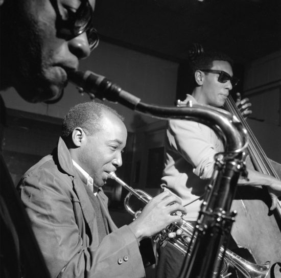 "Teddy Smith with Joe Henderson and Carmell Jones at the session for Horace Silver's ""Song for My Father,"" October 26, 1964"