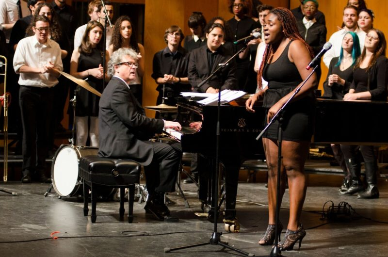 Pete Malinverni (at piano) performs with students in the Purchase College Jazz Studies program