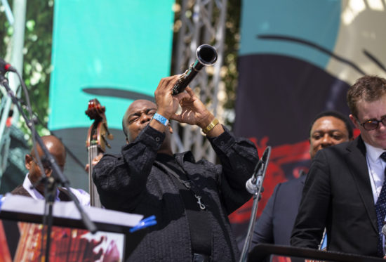 James Carter performs with Vincent Herring's Story of Jazz: 100 Years at the San Jose Jazz Summerfest