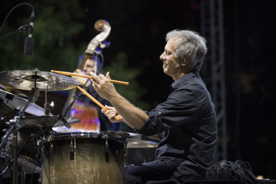 John Patitucci (left) and Dave Weckl of Chick Corea's Akoustic Band at the 2018 Detroit Jazz Festival