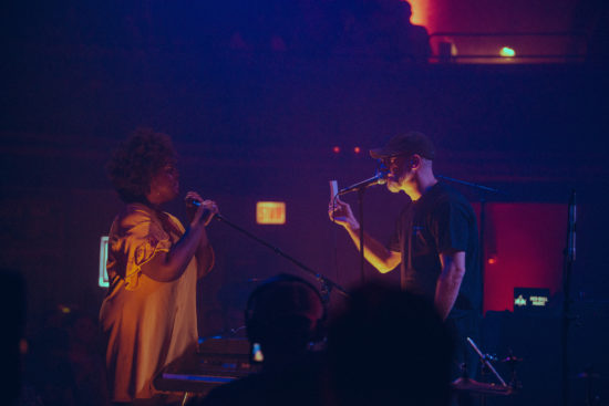Akenya (left) and Kevin Coval at Thalia Hall, Chicago, Aug. 30, 2018