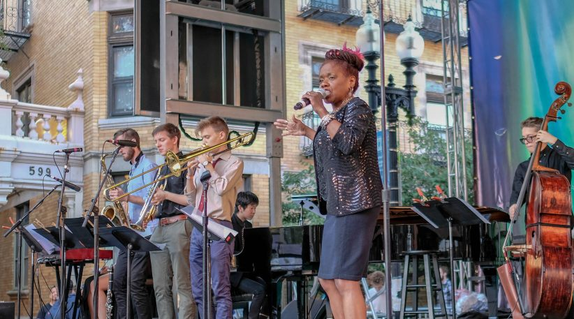 Catherine Russell performs, with help from some Berklee students, at the Berklee Beantown Jazz Festival, September 29, 2018