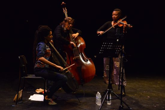 Hear In Now (L to R: Tomeka Reid, Silvia Bolognesi, and Mazz Swift) at the October Revolution of Jazz & Contemporary Music, Philadelphia, Oct. 4, 2018