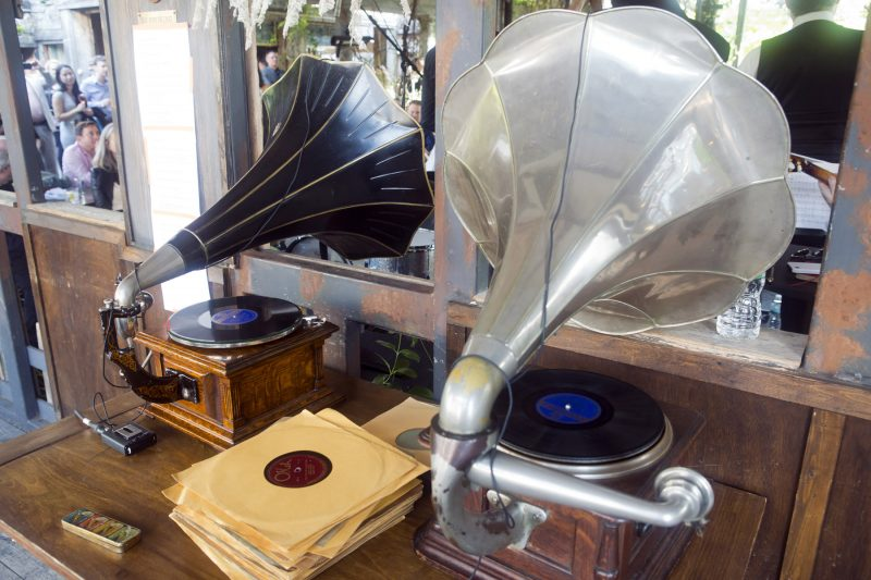 Vintage Victrolas under the command of Michael Cumella (a.k.a. DJ MAC) at the 2018 New York Hot Jazz Festival (photo: Alan Nahigian)