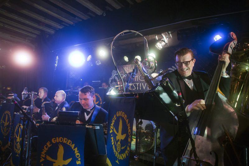 Vince Giordano & the Nighthawks (L to R: Will Anderson, Mark Lopeman, Arnt Arntzen, Vince Giordano) at the 2018 New York Hot Jazz Festival (photo: Alan Nahigian)
