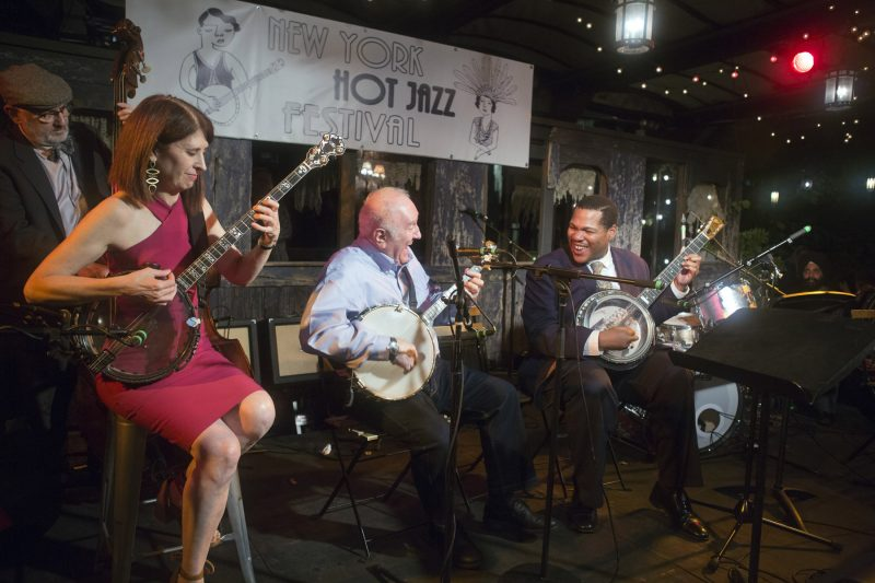 "Banjo summit at the 2018 New York Hot Jazz Festival—L to R: Mike Weatherly, Cynthia Sayer, Eddy Davis, and Jerron ""Blind Boy"" Paxton (photo: Alan Nahigian)"
