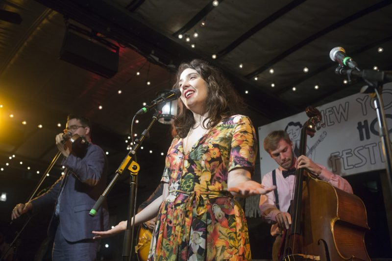 The Avalon Jazz Band, with Tatiana Eva-Marie on vocals and Jason Anick on violin, at the 2018 New York Hot Jazz Festival (photo: Alan Nahigian)