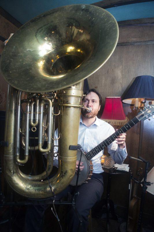 Dave Neigh (a.k.a. the Tuba Machine) at the 2018 New York Hot Jazz Festival (photo: Alan Nahigian)