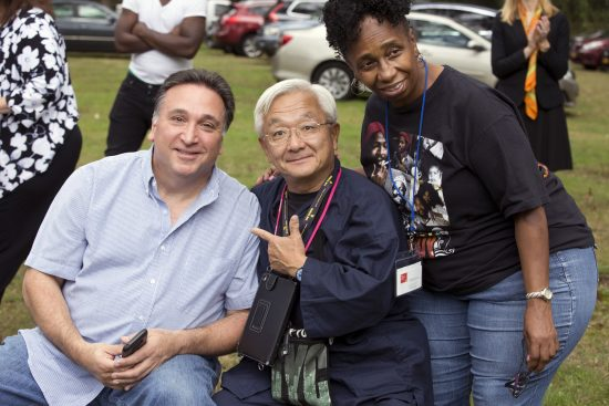 "Steve Fulgoni (left), Yasuhiro ""Fuji "" Fujioka, and volunteers for the Friends of the Coltrane Home in Dix Hills, N.Y., Oct. 9, 2018"