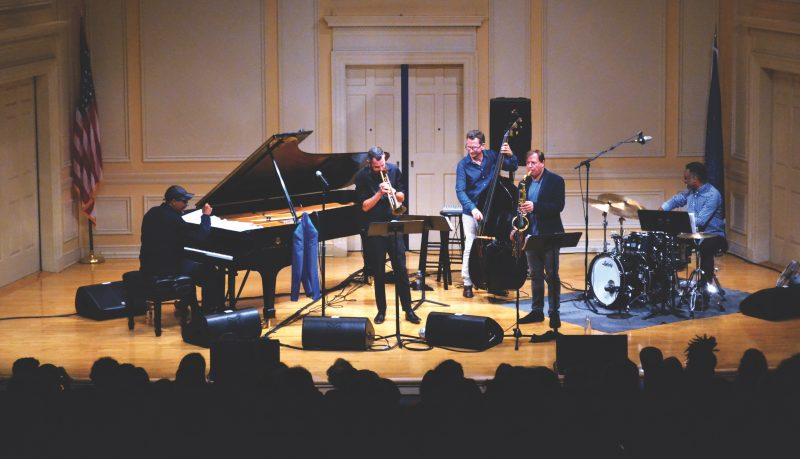 Left to right: Danilo Pérez, Avishai Cohen, Larry Grenadier, Chris Potter, and Nate Smith at the Library of Congress, Washington, Oct. 10, 2018