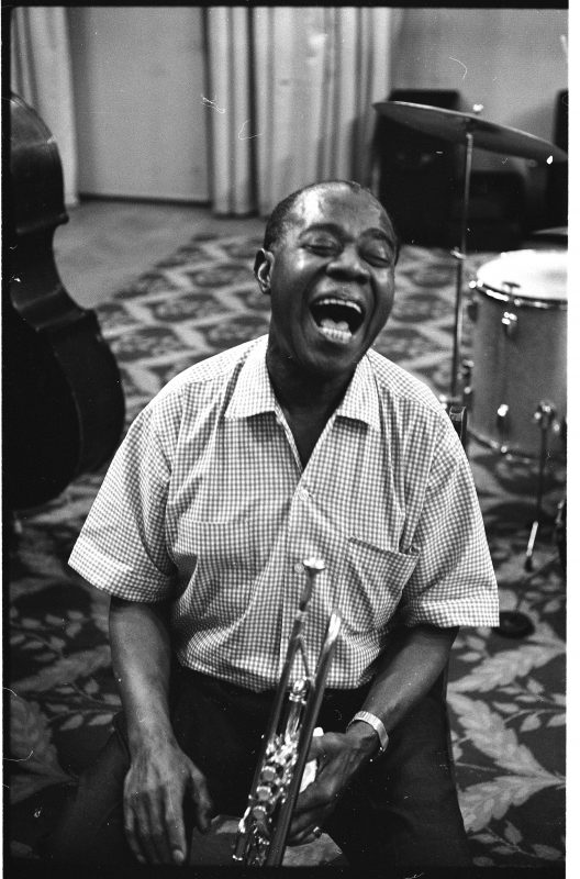 "Louis Armstrong in a rehearsal for the album ""Disney Sings the Satchmo Way,"" Hollywood, May 1968 (photo: Jack Bradley)"