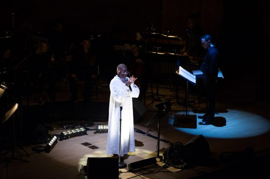 Cécile McLorin Salvant premieres <I>Ogresse</I> at New York's Metropolitan Museum of Art, with Darcy James Argue (right) conducting, Sept. 28, 2018