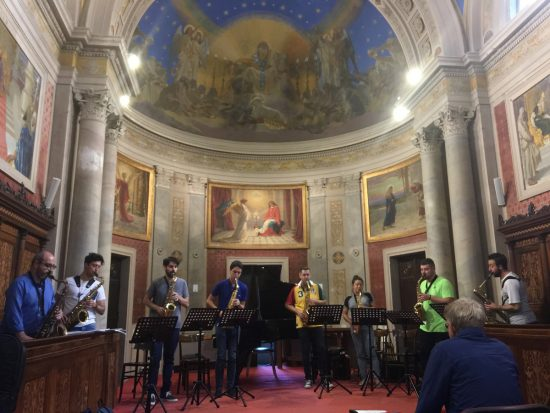 A student saxophone choir performs at the Conservatorio di Musica di Perugia