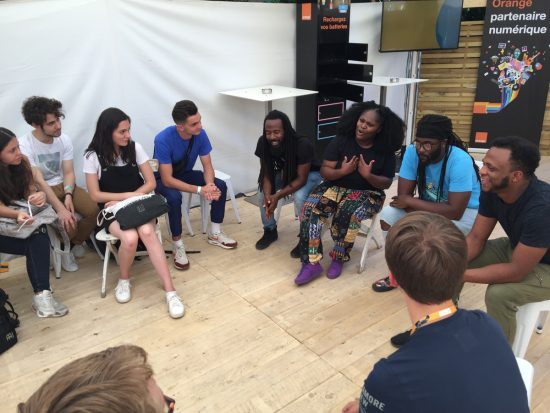 Students in the JazzUp! Summer Camp meet Tank and the Bangas in Vienne, France