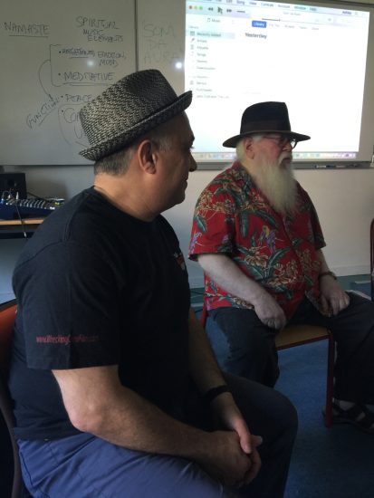 Ashley Kahn (left) and Hermeto Pascoal talk to students in Vienne