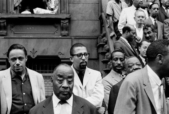 (From left) Horace Silver, Luckey Roberts, Sahib Shihab, Eddie Locke, Jimmy Rushing (half hidden) (photo by Art Kane)