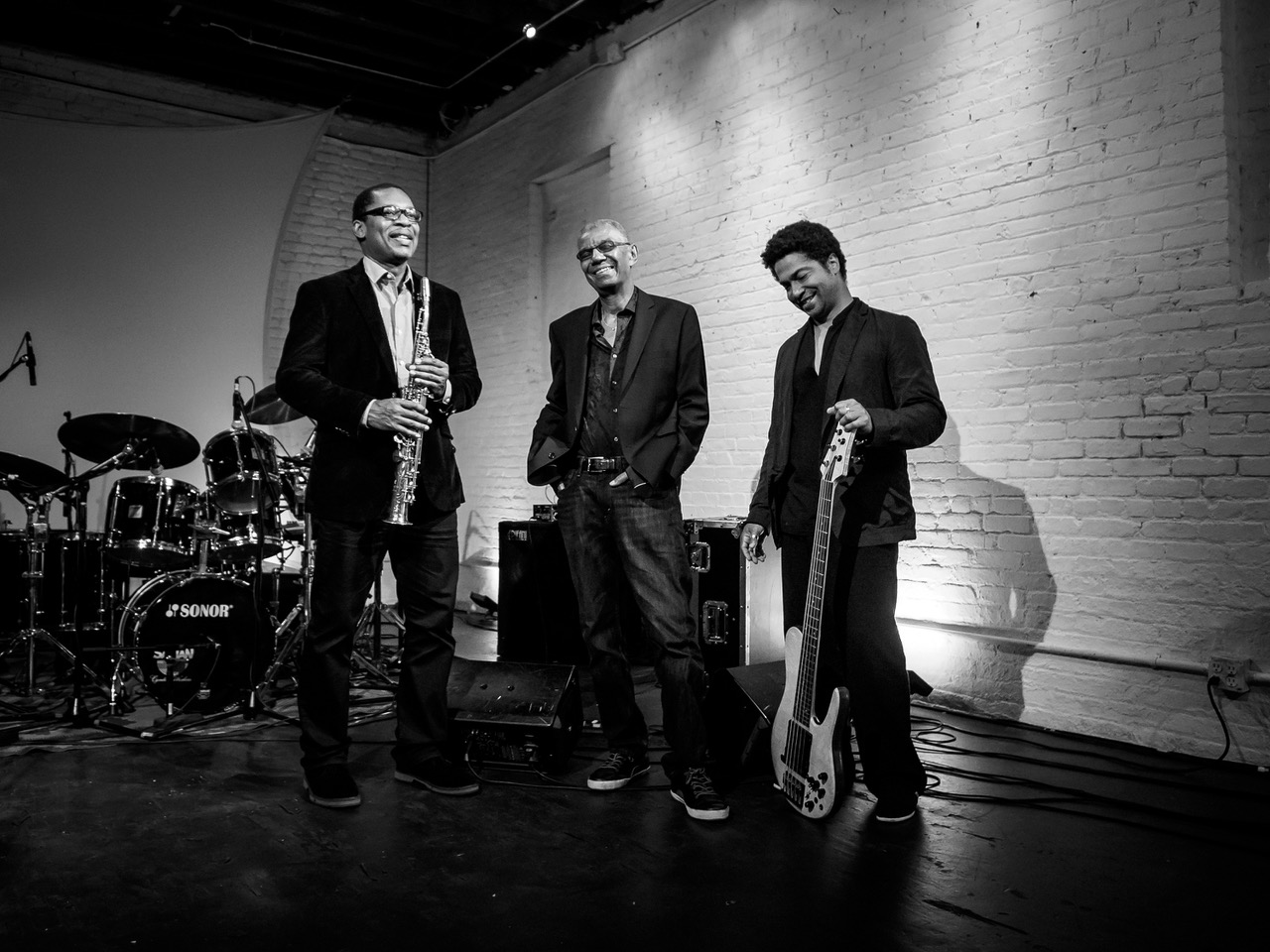 The DeJohnette Coltrane Garrison trio (left to right: Ravi Coltrane, Jack DeJohnette, Matthew Garrison)
